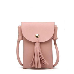 Pink leather crossbody phone bag with tassel