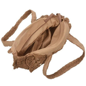 Summer straw beach bag with zipper closure