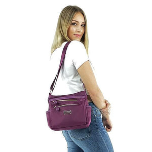 Nylon crossbody purse women, Black, Blue, Purple, Red