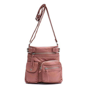 Pink vegan leather crossbody bag