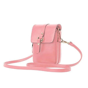 Pink phone purse with 2 zipered pocket compartments