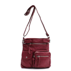 Burgundy vegan leather crossbody bag