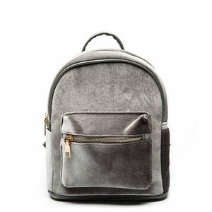 Gray Small velvet backpack