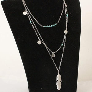 Siover Ethnic feather necklace with coins