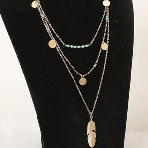 Gold Ethnic feather necklace with coins