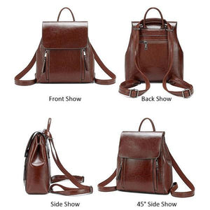 Multifunction leather backpack purse