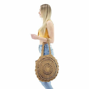 beach summer straw tote bag with zipper closure