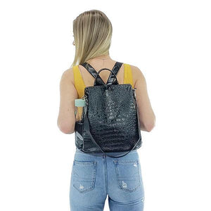 black backpack purse faux crocodile and alligator
