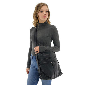 black leather crossbody backpack purse