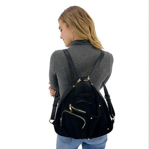 Suede backpack purse for women, Black, Deep Blue, Coffee, Burgundy, Dark Purple
