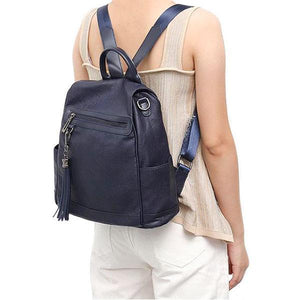 Blue leather backpack with shoulder strap for womens