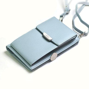 blue leather crossbody phone bag