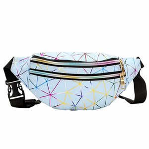 Cheap blue holographic fanny pack