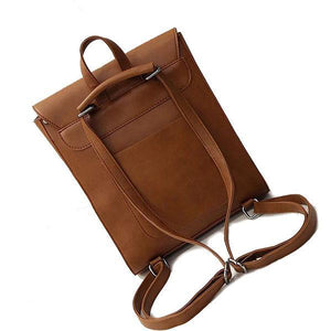 brown backpack with convertible straps