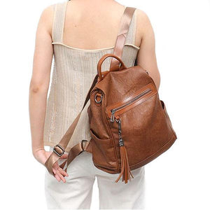 brown leather backpack with shoulder strap for womens