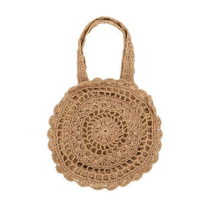 Khaki  straw beach bag