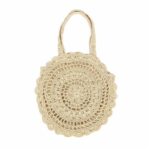 Beige circle straw beige bag