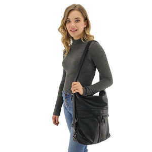 Convertible black leather backpack purse