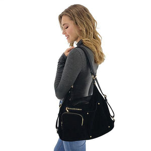 convertible black suede backpack shoulder bag