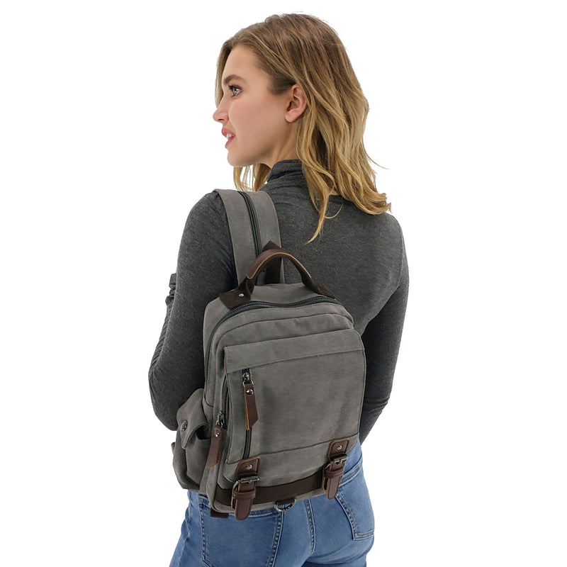 Convertible canvas backpack sling bag, Black, Blue, Brown, Khaki, Burgundy, Sky blue, Army Green, Gray
