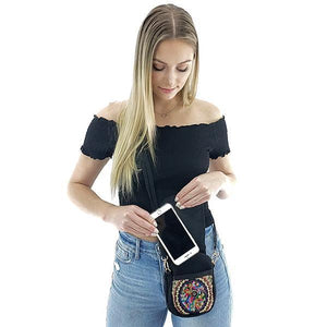 crossbody canvas ethnic phone bag