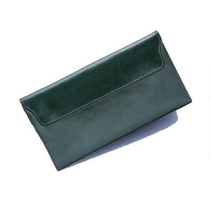 Green women's wallet with removable card holder