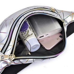 holographic fanny pack with double zipper pocket