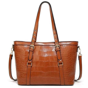 brown Crocodile faux tote bag