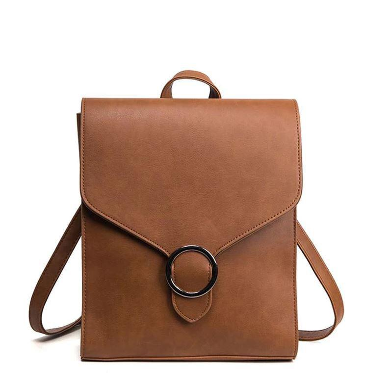 Brown leather retro style backpack