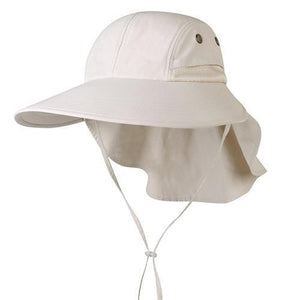 Beige sun hats for women with neck flap