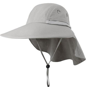 Light gray sun hats for women with neck flap