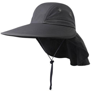 Drak gray sun hats for women with neck flap
