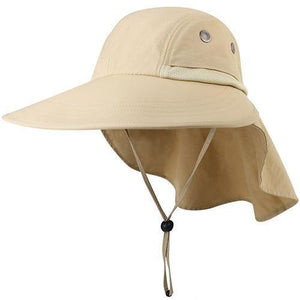 Khaki sun hats for women with neck flap