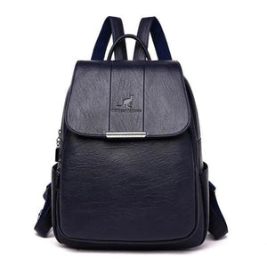 Blue cute leather backpack for women