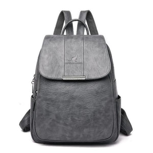 Gray cute leather backpack for women