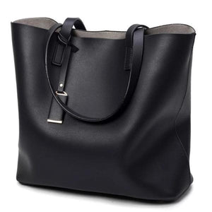 Black tote bag faux leather with zipper