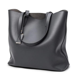 Gray tote bag faux leather with zipper