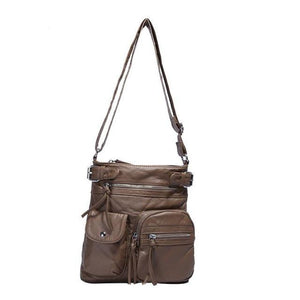 Coffe vegan leather crossbody bag