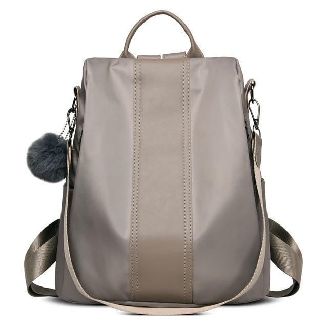 Gray anti-theft travel backpack for women