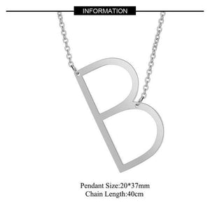 Silver Large B side pendant initial Necklace