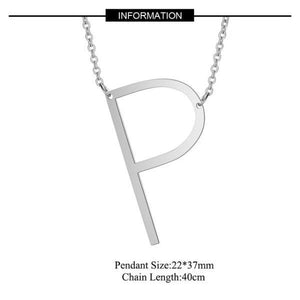 Silver Large P pendant initial Necklace