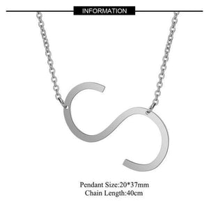 Silver Large S side pendant initial Necklace