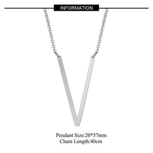 Silver Large V side pendant initial Necklace
