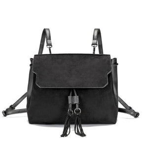Black backpack purse with tassels