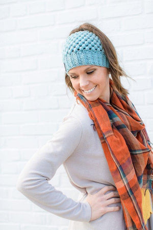 Model wearing blue Montana, Beautiful Ponytail Beanie for Women
