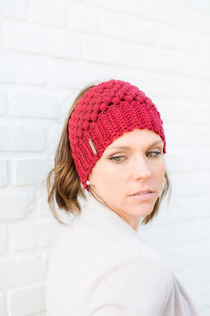 Model wearing red Montana, Beautiful Ponytail Beanie for Women