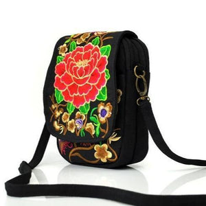 Rose flower ethnic small bag