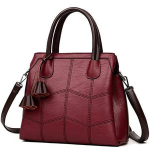 Red leather handbag with top handles