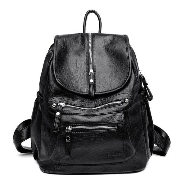 Gray Leather backpack with two separate compartment for women