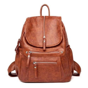 Brown Leather backpack with two separate compartment for women